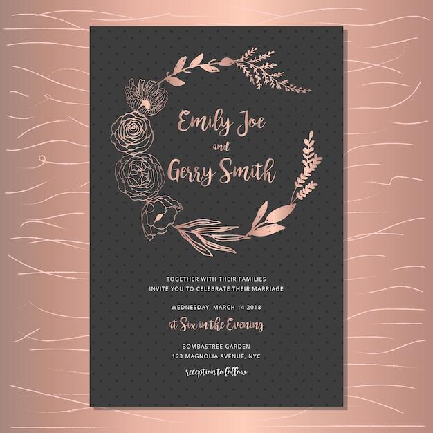 Convite de casamento elegante com coroa de flores de ouro rosa Vetor Premium