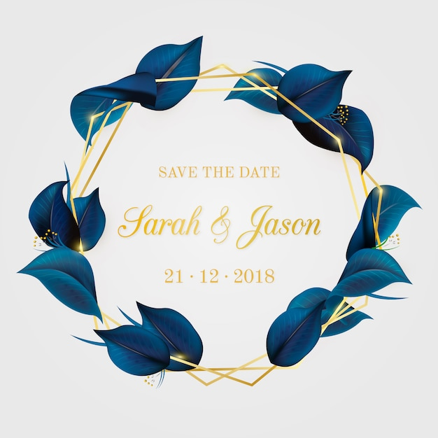 Convite de casamento elegante com folhas Vetor grátis