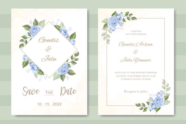 Convite de casamento elegante com lindo floral Vetor Premium