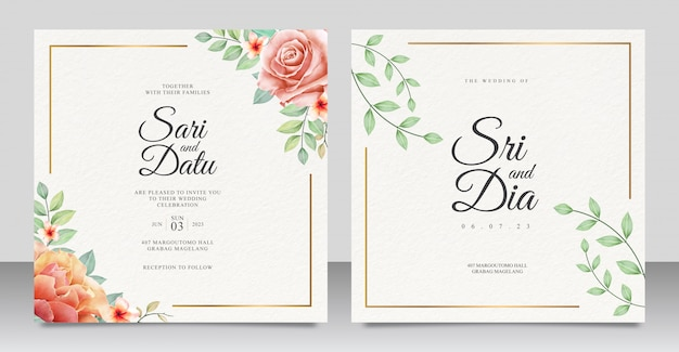 Convite de casamento elegante conjunto modelo com belo design floral Vetor Premium
