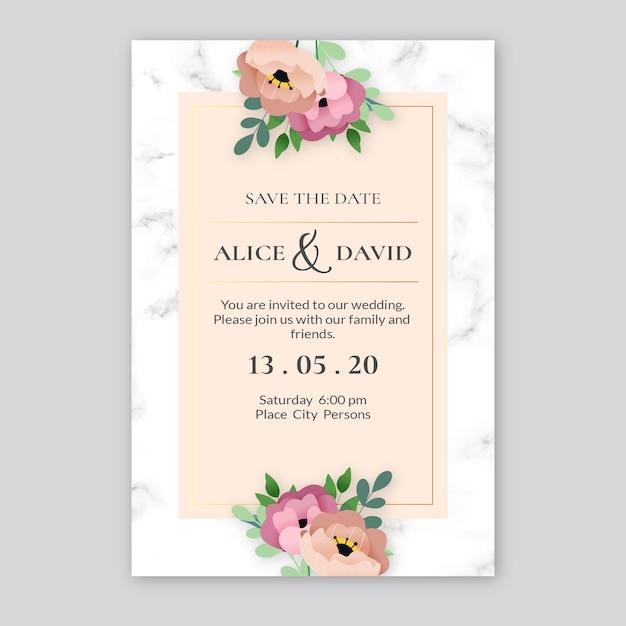 Convite de casamento elegante modelo Vetor grátis