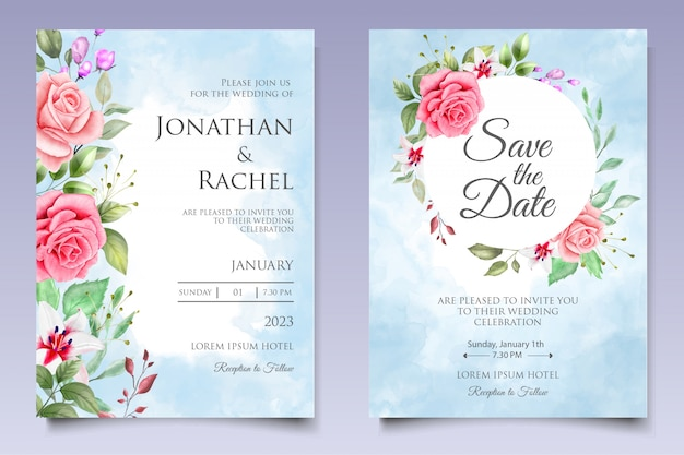 Convite de casamento em aquarela floral e modelo de cartão de folhas Vetor Premium