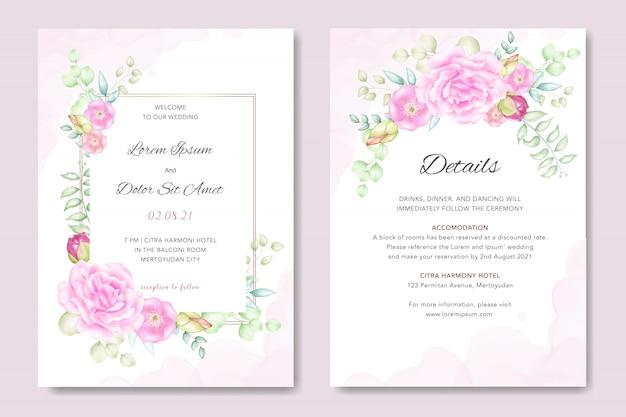 Convite de casamento em aquarela floral Vetor Premium