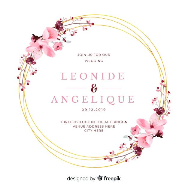 Convite de casamento em aquarela moldura floral Vetor Premium