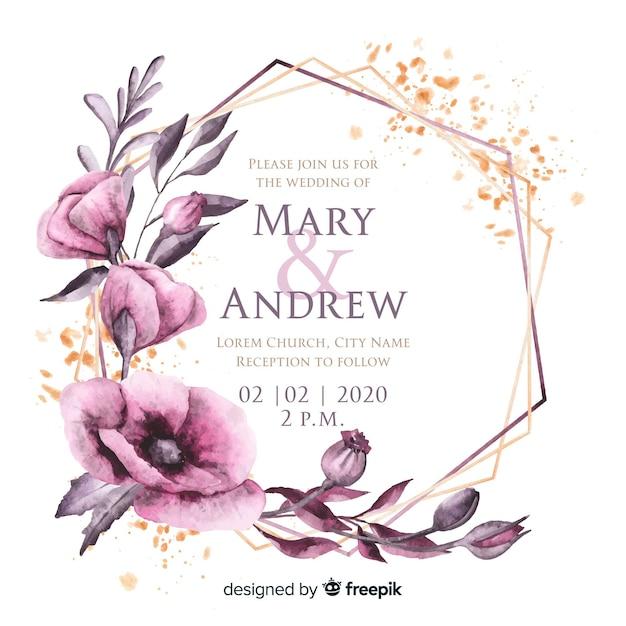 Convite de casamento em aquarela moldura floral Vetor grátis