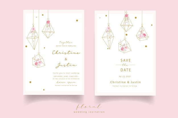 Convite de casamento em aquarela rosa rosa Vetor grátis