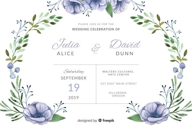 Convite de casamento em aquarela Vetor grátis
