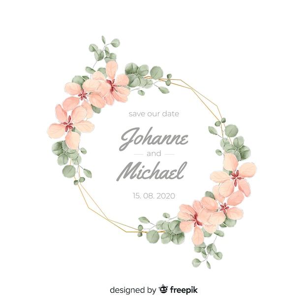 Convite de casamento floral aquarela moldura Vetor grátis