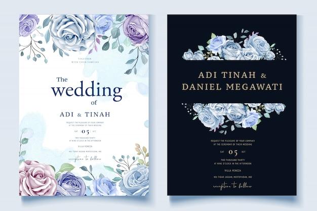 Convite de casamento floral colorido Vetor Premium