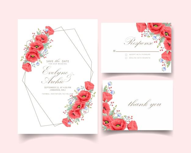 Convite de casamento floral com flor de papoula Vetor Premium