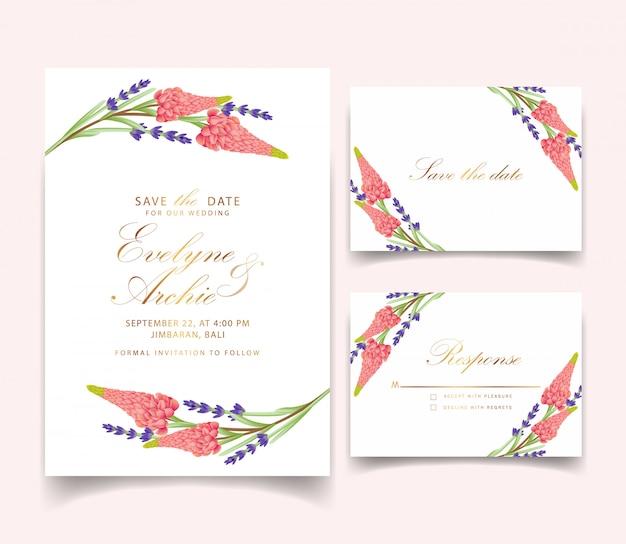 Convite de casamento floral com flor de tremoço e lavanda Vetor Premium