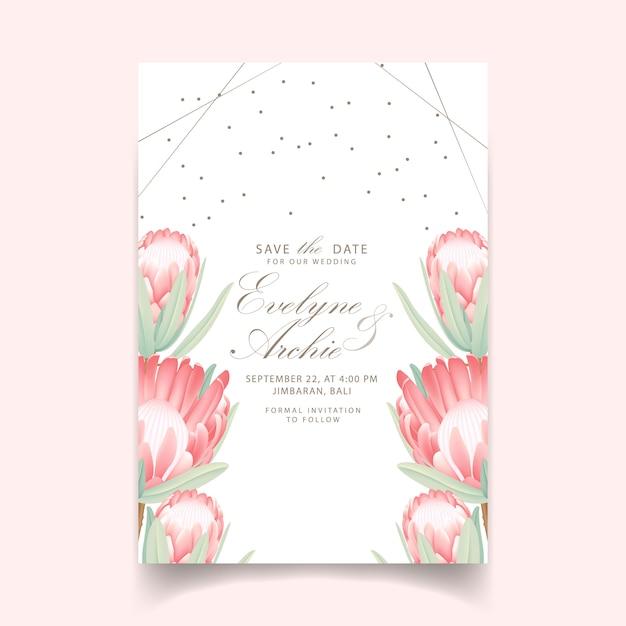Convite de casamento floral com flor protea Vetor Premium