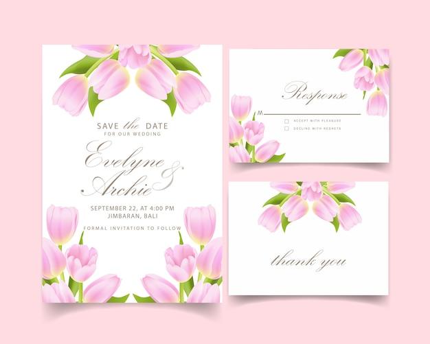 Convite de casamento floral com flor tulipa rosa Vetor Premium