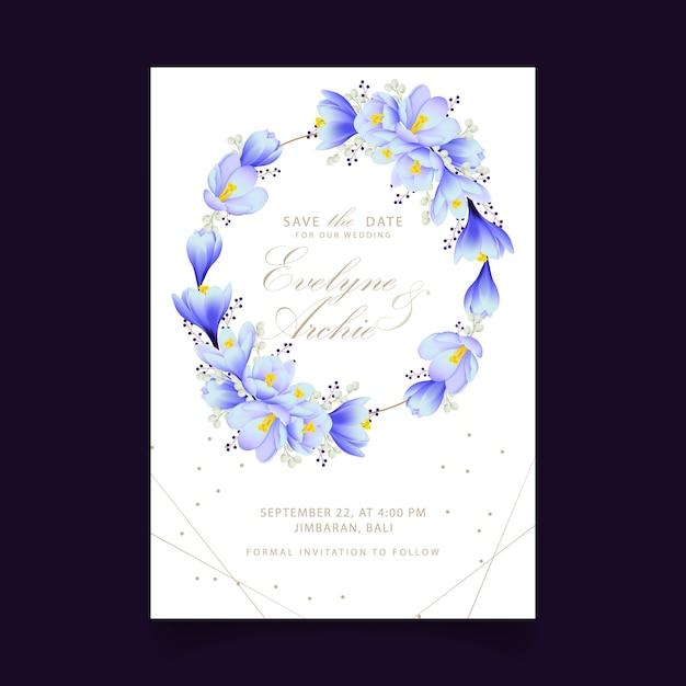Convite de casamento floral com flores de açafrão Vetor Premium