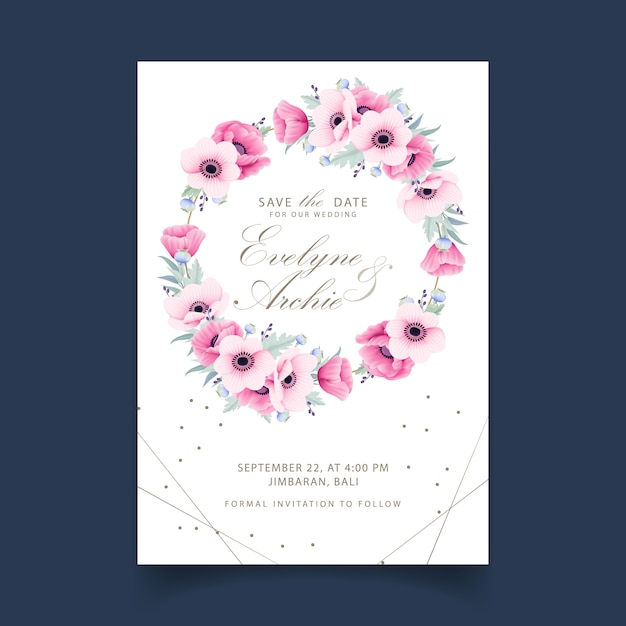 Convite de casamento floral com flores de anêmona e papoula Vetor Premium