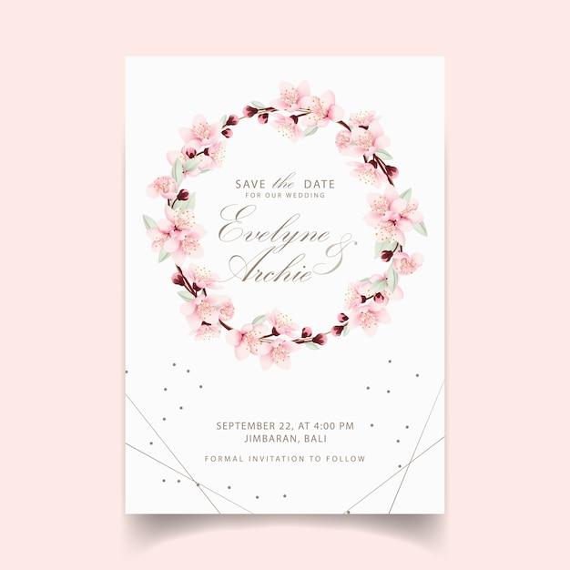 Convite de casamento floral com flores de cerejeira Vetor Premium