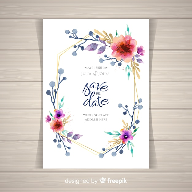 convite de casamento floral com moldura dourada baixar vetores grátis