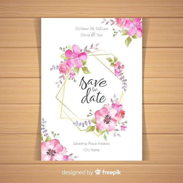 Convite de casamento floral com moldura dourada Vetor grátis