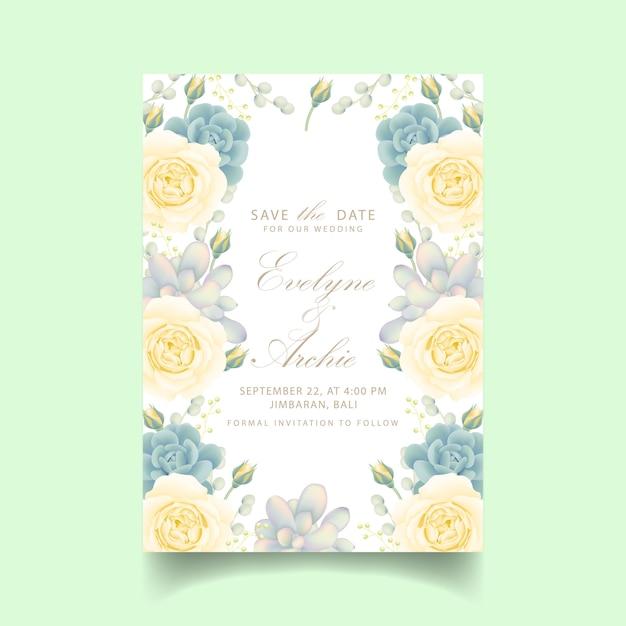 Convite de casamento floral com rosa branca e suculenta Vetor Premium