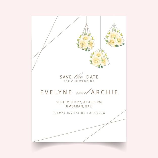 Convite de casamento floral com rosa branca no terrário Vetor Premium