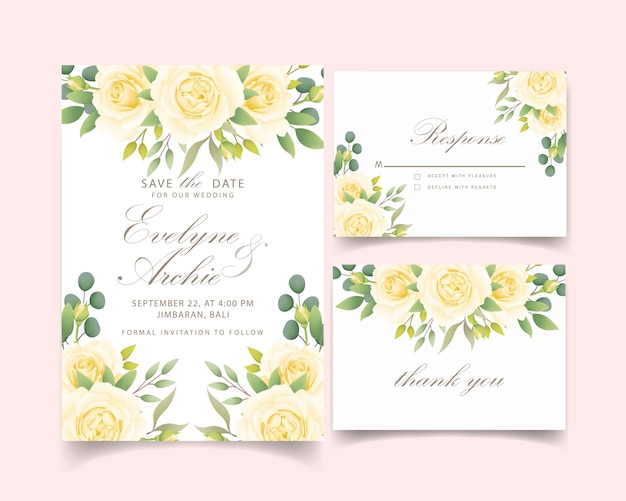 Convite de casamento floral com rosa branca Vetor Premium