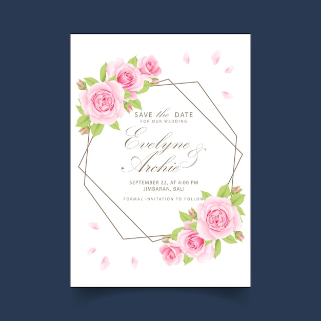 Convite de casamento floral com rosa Vetor Premium