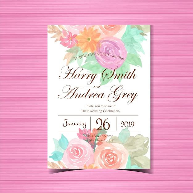 Convite de casamento floral com rosas coloridas Vetor Premium