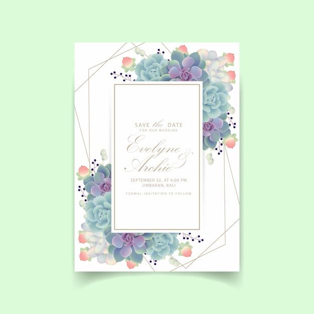 Convite de casamento floral com suculentas Vetor Premium