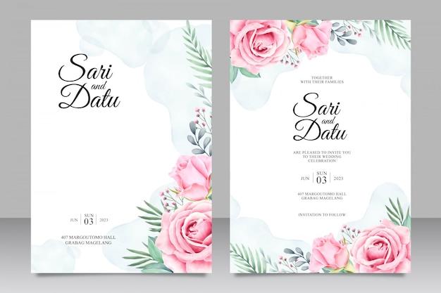 Convite de casamento floral conjunto aquarela modelo Vetor Premium