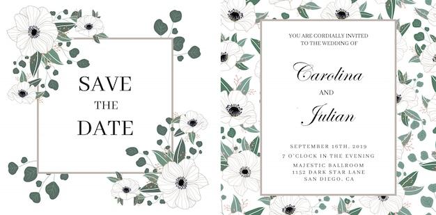 Convite de casamento floral delicado Vetor Premium