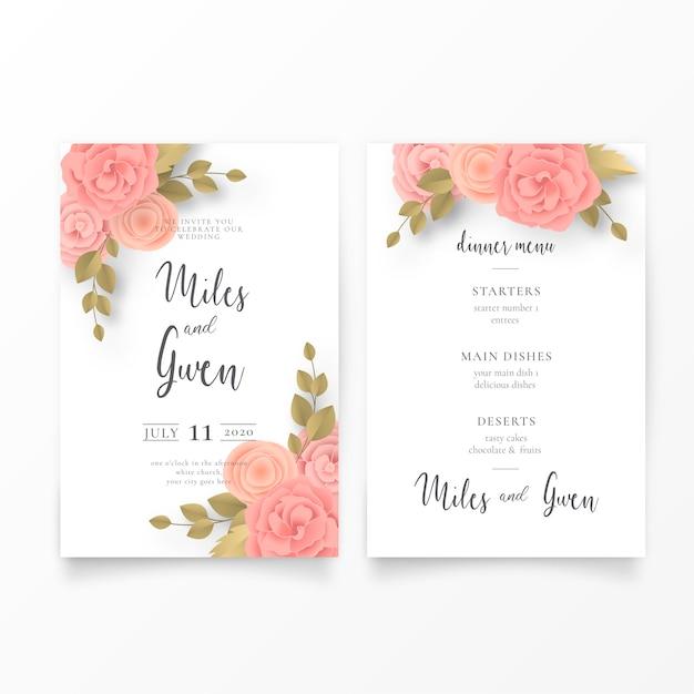 Convite de casamento floral e modelo de menu Vetor grátis