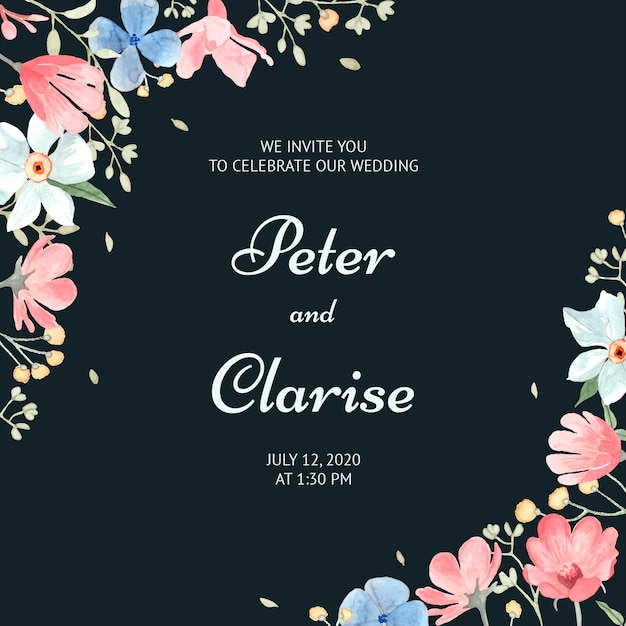 Convite de casamento floral elegante em aquarela Vetor Premium
