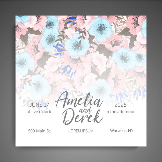 Convite de casamento floral elegante vetor de cartão de convite Vetor grátis