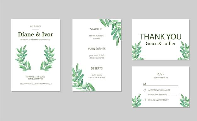 Convite de casamento floral em aquarela Vetor Premium
