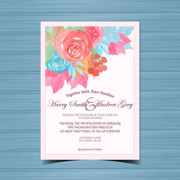 Convite de casamento floral lindo com flores coloridas Vetor Premium