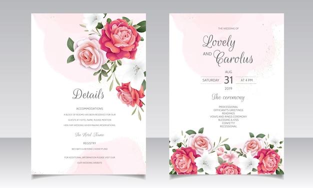 Convite de casamento floral lindo com rosas florescendo e folhas verdes Vetor Premium