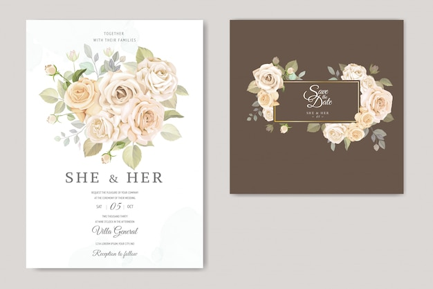 Convite de casamento floral lindo quadro Vetor Premium