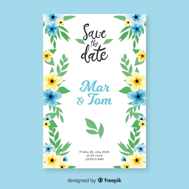 Convite de casamento floral pintado à mão Vetor grátis
