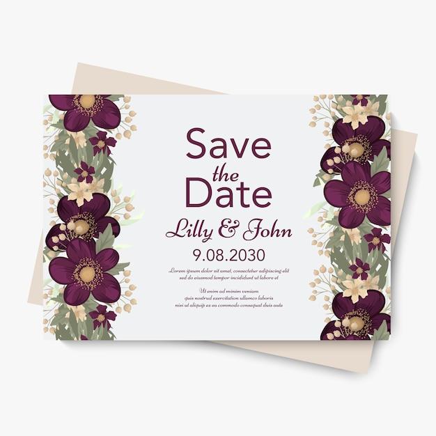Convite de casamento floral. Vetor grátis