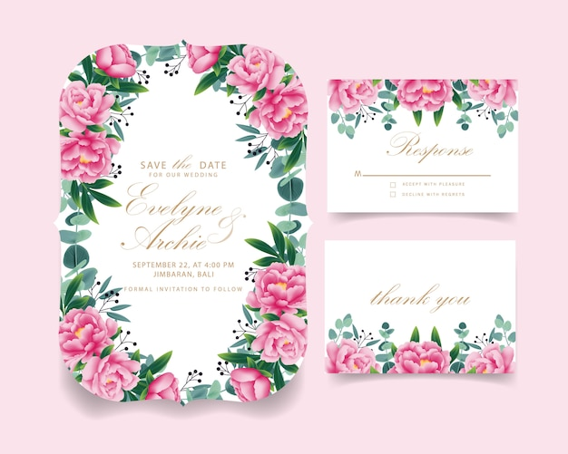 Convite de casamento floral Vetor Premium
