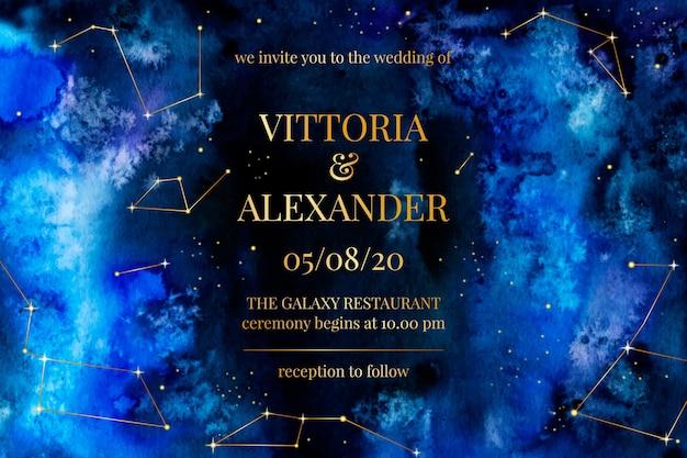 Convite de casamento galáxia aquarela Vetor grátis