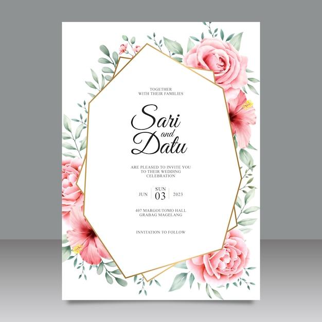 Convite de casamento geométrico com flores e folhas Vetor Premium
