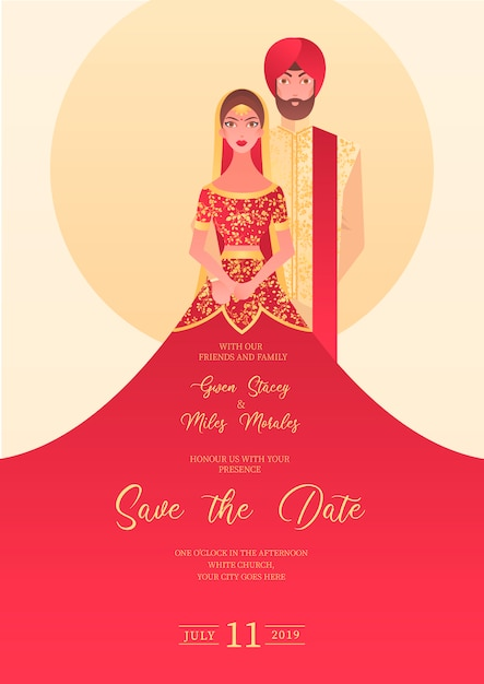 Convite de casamento indiano com personagens Vetor grátis