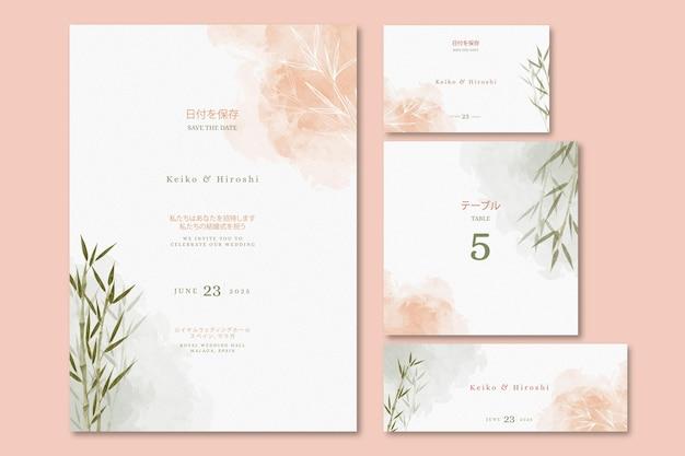 Convite de casamento japonês com folhas Vetor grátis