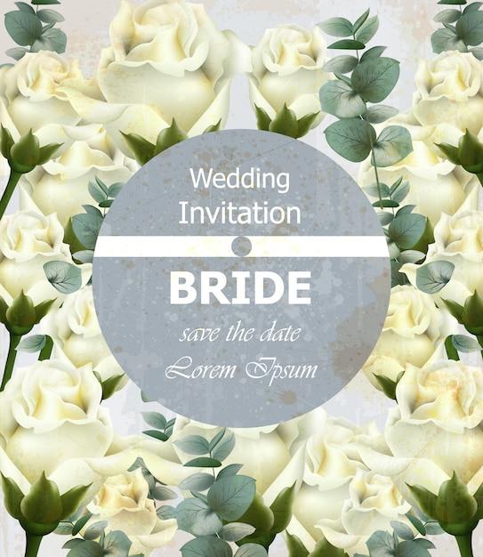 Convite de casamento lindo com rosas brancas Vetor Premium