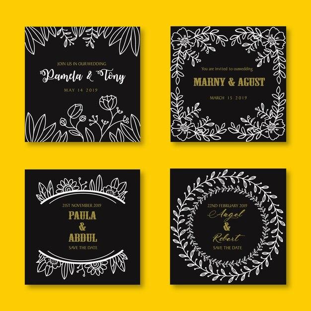 Convite de casamento mão desenhada modelo de flor Vetor Premium