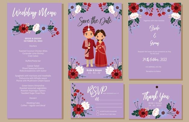 Convite de casamento, menu, rsvp, etiqueta de agradecimento salvar o cartão de data Vetor Premium