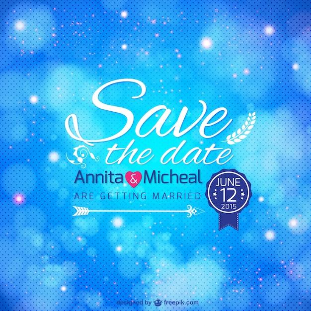 Convite de casamento modelo azul Vetor grátis