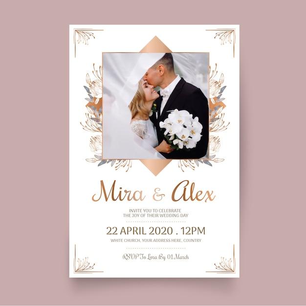 Convite de casamento modelo com foto Vetor grátis
