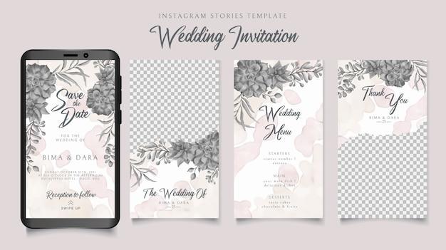 Convite de casamento modelo de histórias do instagram com fundo floral em aquarela Vetor Premium